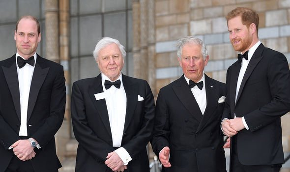 Charles, William, Harry and David Attenborough