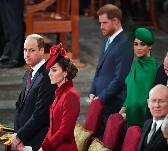 kate and prince william at the commonwealth day service sitting in front of meghan and harru