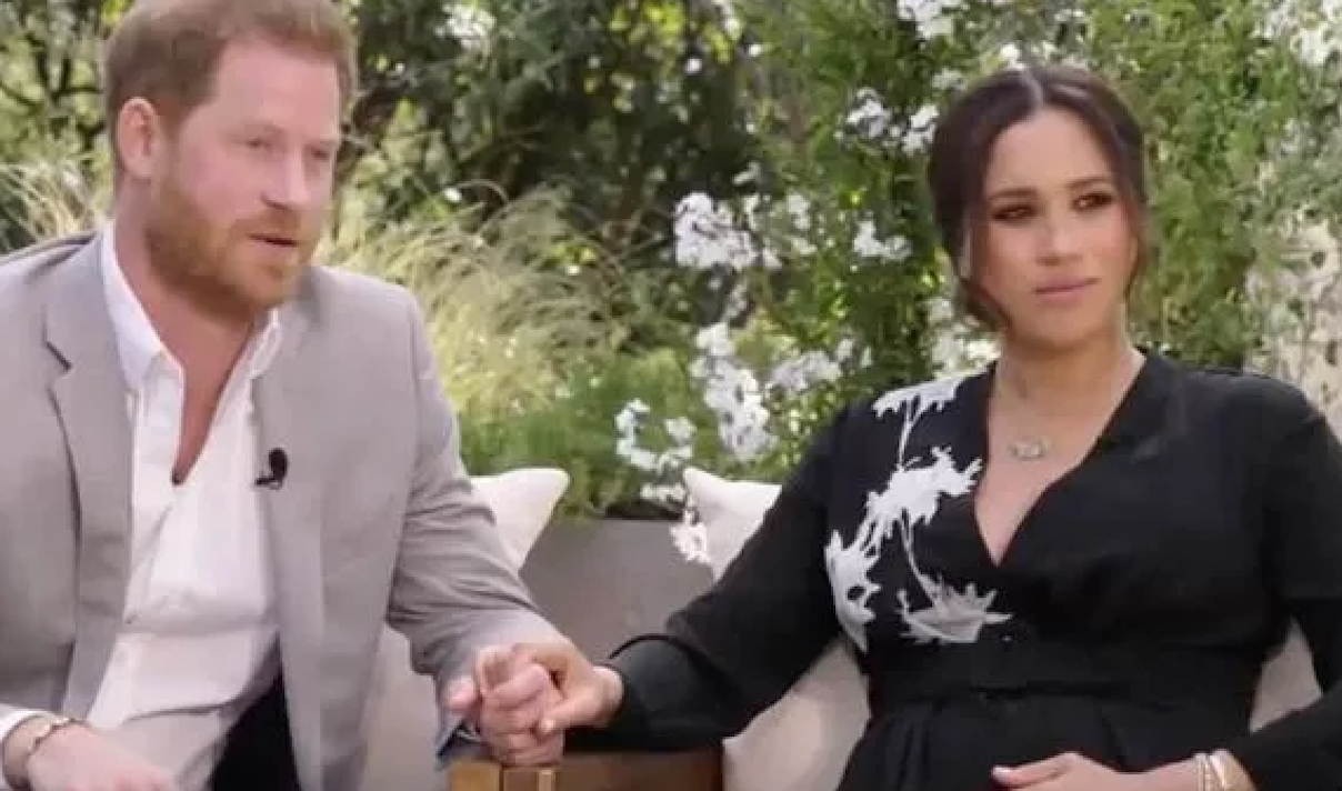 meghan markle and prince harry during their interview with oprah