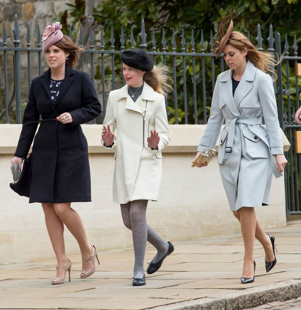 Princess Beatrice with Princess Eugenie and Lady Louise Windsor