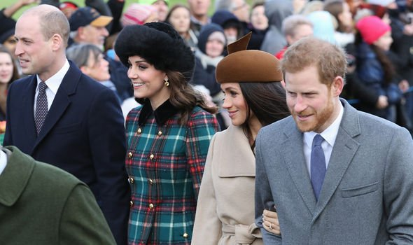 Meghan and Kate pictured smiling with their husbands in Sandringham in 2017