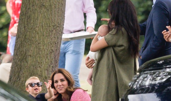 Kate and Meghan with their children at a polo match in 2019