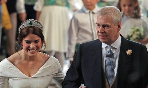 Andrew walking Eugenie down the aisle for her wedding in October 2018
