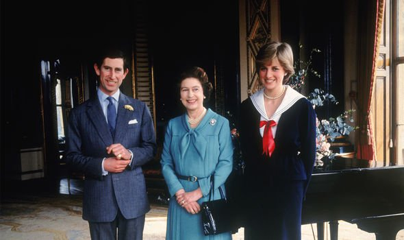 Charles with the Queen and Diana in the early days of their romance