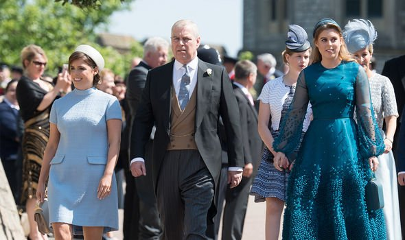 Eugenie, Beatrice and Andrew attending the Sussexes' wedding