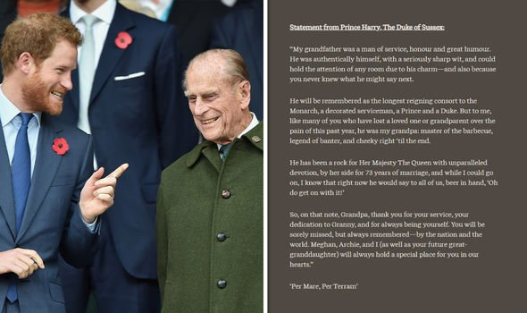 Harry's tribute to his late grandfather on his website Archewell