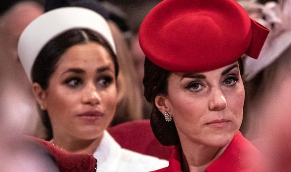 Meghan and Kate at the Commonwealth Day service in March 2019