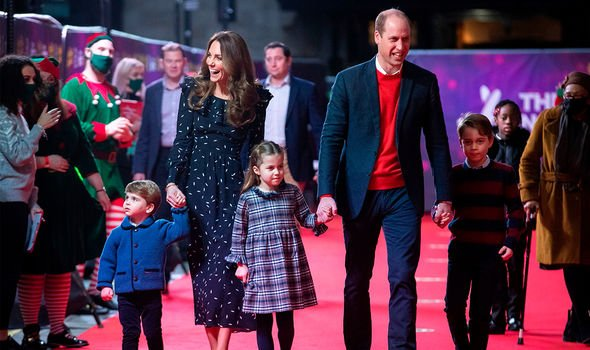 Kate and William with Louis, Charlotte and George back in December