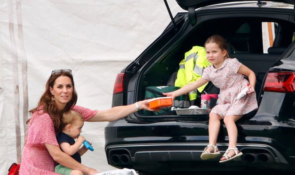 Kate with her two youngest children, Louis and Charlotte