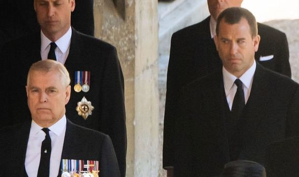 Peter Phillips: The royal appeared to glare at Prince Andrew during the funeral procession
