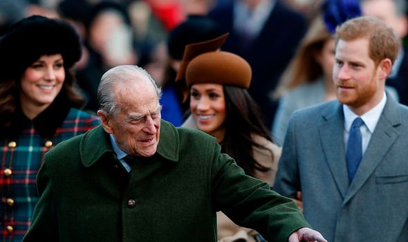 Philip with Meghan, Harry and Kate back in 2017