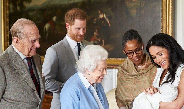 Philip meeting his great-grandson Archie Harrison