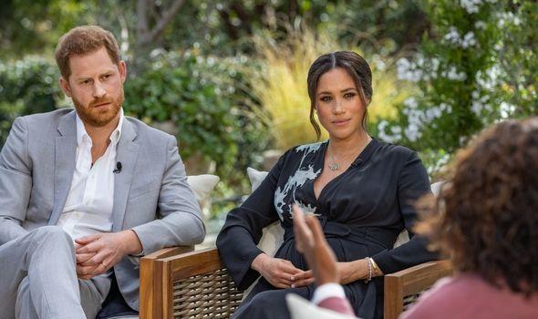 Prince Harry alongside Meghan Markle on Oprah