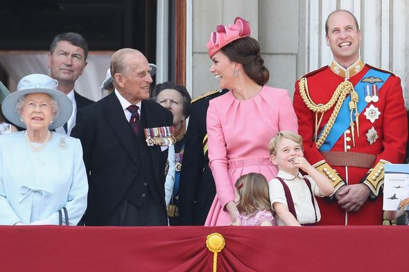 Prince Philip alongside his family