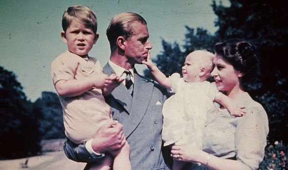 Prince Philip with Princess Anne, Prince Charles and the Queen