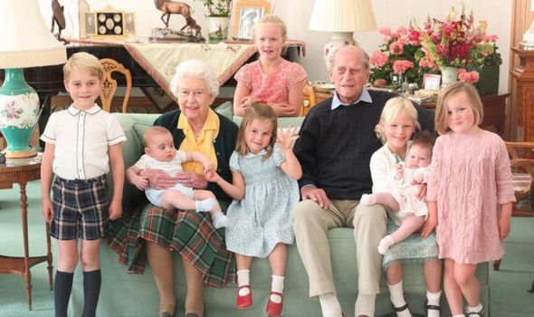The Queen and Philip with seven of their great-grandchildren back in 2018