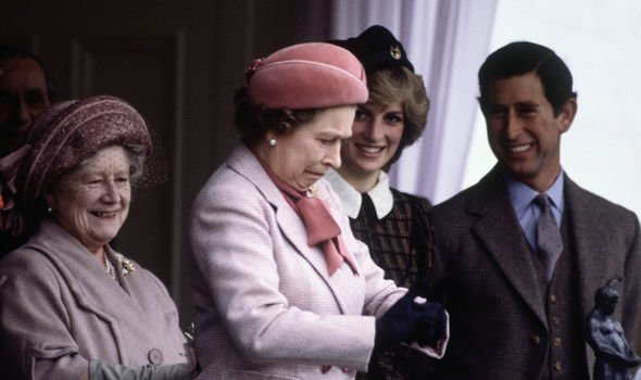 The Queen laughing with the Queen Mother, Diana and Charles in Balmoral