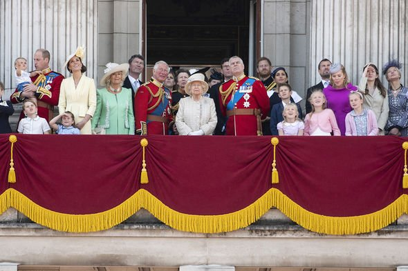 Britain's Queen Elizabeth II (C) and her family members are seen on the balcony of Buckingham Palace during the Trooping the Colour ceremony to mark her 93rd birthday in London, Britain, on June 8, 2019