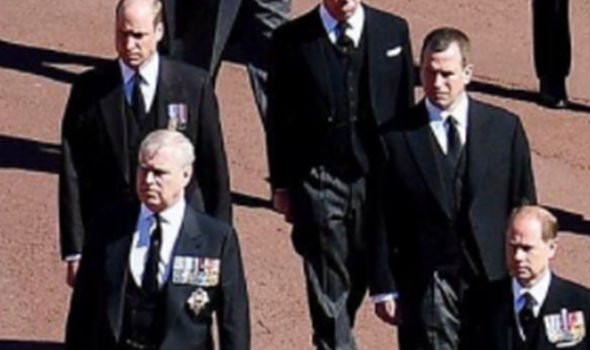 Royal news: Peter was again later on pictured appearing to scowl at Andrew