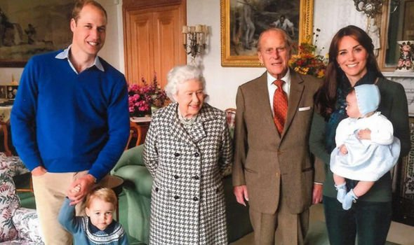 The royals released a previously unseen photograph of the Cambridges with the Queen and Philip in 2015