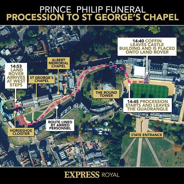 Senior royals walked behind the Duke of Edinburgh's Land Rover hearse
