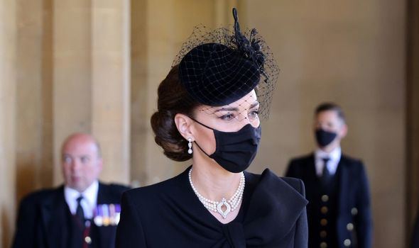 The 39-year-old wore a stunning pearl choker which belongs to the Queen