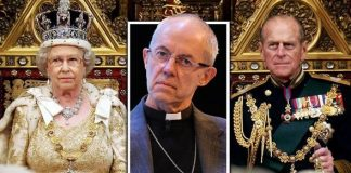 The Archbishop of Canterbury, The Queen and her husband Prince Philip