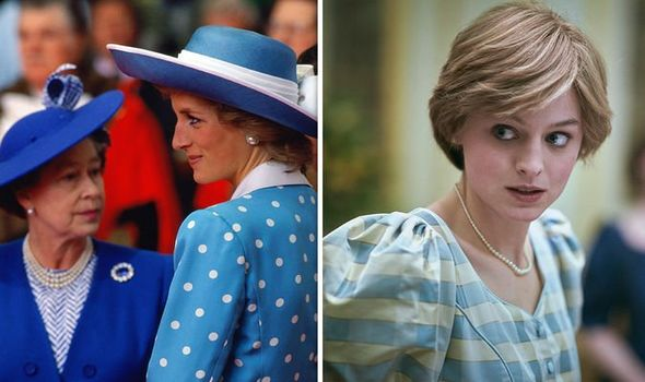 The Queen with Princess Diana (L), Diana as depicted in The Crown