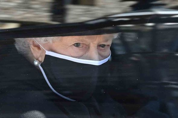 The Queen on the way to the funeral of her husband today