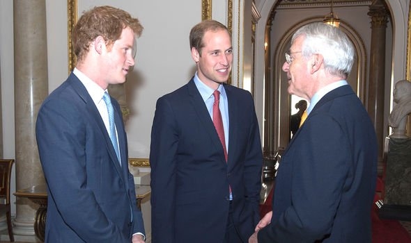 William and Harry with Sir John Major