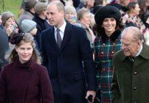 File photo dated 25/12/17 of (Left-right front) Lady Louise Windsor, the Duke of Edinburgh, (left-right centre) The Duke and Duchess of Cambridge, Meg