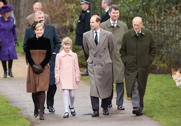 Sophie, Countess of Wessex, Prince Andrew, Duke of York, Lady Louise Windsor, Prince Edward, Earl of Wessex, Vice Admirla Sir Timothy Laurence and Pri