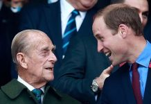 Prince Phillip and Prince William enjoy the build up to the 2015 Rugby World Cup Final match between New Zealand and Australia at Twickenham Stadium on October 31, 2015 in London, United Kingdom