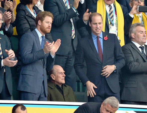 Prince Harry, Prince Philip, Duke of Edinburgh and Prince William, Duke of Cambridge attend the Rugby World Cup Final match between New Zealand and Australia during the Rugby World Cup 2015 at Twickenham Stadium on October 31, 2015 in London, United Kingdom