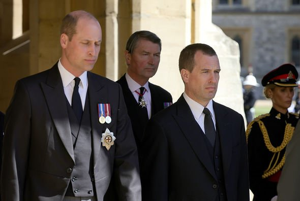 The Duke of Cambridge (left) and Peter Phillips ahead of the funeral of the Duke of Edinburgh at Windsor Castle, Berkshire. Picture date: Saturday April 17, 2021
