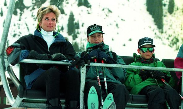 The Princess of Wales and her two sons, Princess William (centre) and Prince Harry, ride in ski lift on the last full day of their Easter skiing holid