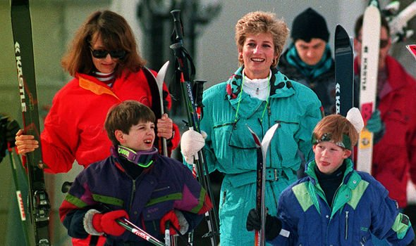 The Princess of Wales makes her way towards the ski lift in Lech, Austria, accompanied by her son Harry and friend Catherine Soames and her son Harry