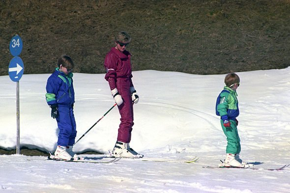 Prince Harry leads the way as he, his mother the Princess of Wales and brother Prince William set off for the pistes on the Kriegerhorn APRIL 9 1991