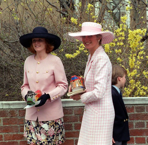 The Duchess of York, Sarah Ferguson (left) and Lady Diana, the Princess of Wales, holding Easter eggs after attending Morning Service at St George's C