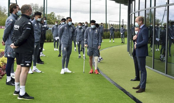 Prince William gave a speech to the Aston Villa squad after opening their new training facility(Image: GETTY)