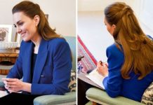 Kate is pictured in a £60 cobalt blue blazer from Zara (Image: Kensington Palace)