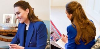 Kate is pictured in a £60 cobalt blue blazer from Zara(Image: Kensington Palace)
