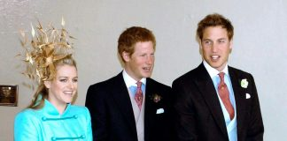 (L-R) Laura Lopes (nee Parker Bowles), Prince Harry, and Prince William