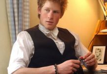 Prince Harry on May 12, 2003 in his room at Eton College