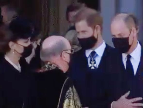 Kate kicked off the conversation with Harry before leaving him to speak with William(Image: BBC)