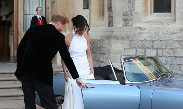 Meghan and Harry on the way to their evening reception(Image: GETTY)