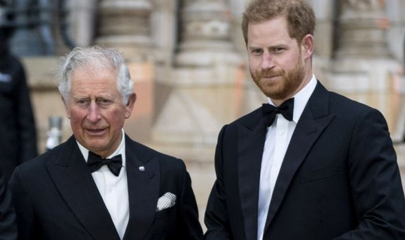Prince Charles and Harry attending a movie premiere in London.(Image: GETTY)
