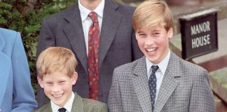 The Prince and Princess of Wales with their sons Princes William (centre, right) and Harry with House Master Dr Andrew Gailey (back, centre), on Willi