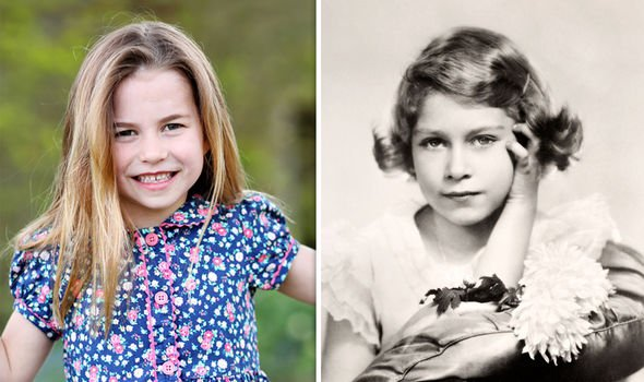 Princesss Charlotte at six, the Queen aged seven or eight(Image: GETTY)