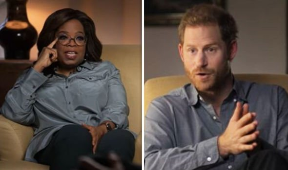 Oprah Winfery and Harry in their new docuseries, The Me You Can't See(Image: Apple TV )